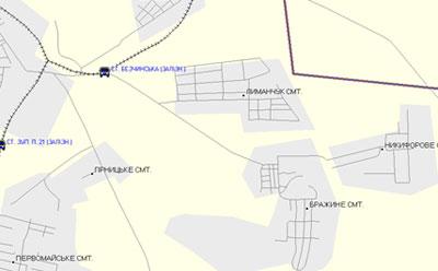 сетка всех дорог и улиц населенных пунктов с населением от 10 тыс. человек